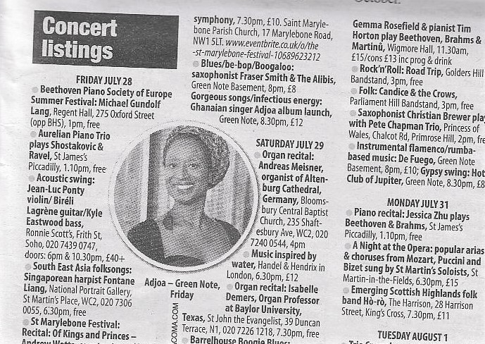 Adjoa in the Camden New Journal, Green Note, Adinkra EP Launch